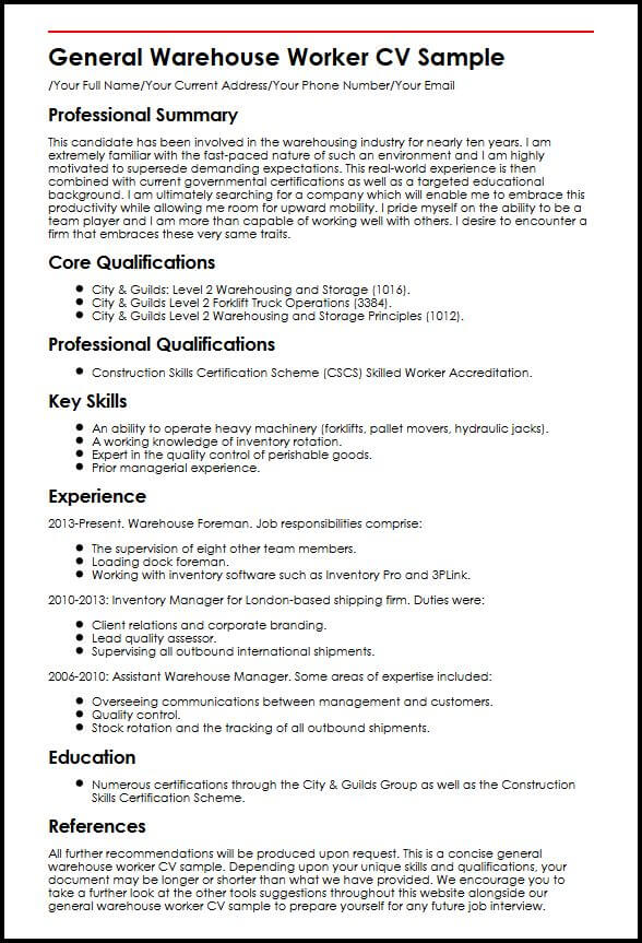 resume summary examples for warehouse