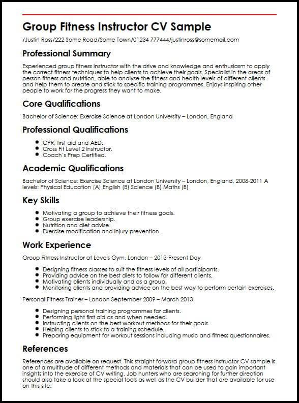 Group Fitness Instructor CV Sample MyperfectCV