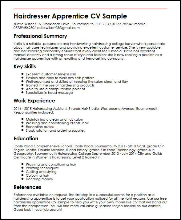 cv personal statement for apprenticeship