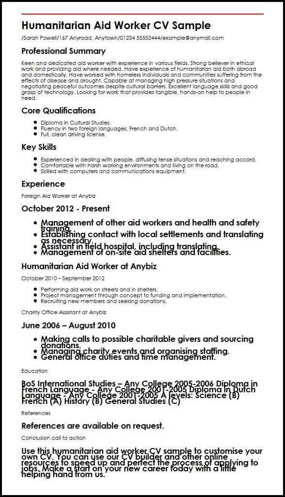 Humanitarian Aid Worker CV Sample MyperfectCV