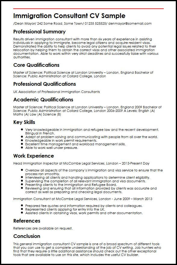 Immigration Consultant CV Sample MyperfectCV