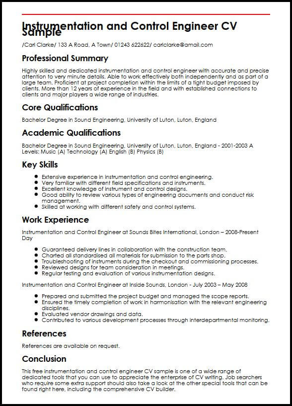 Instrumentation And Control Engineer CV Sample MyperfectCV