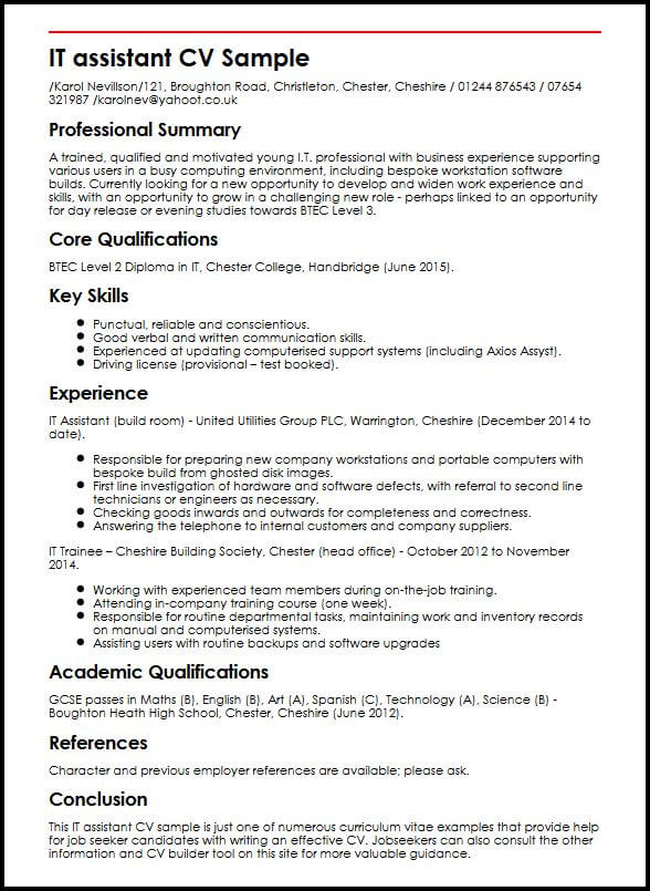 IT assistant CV Sample  MyperfectCV
