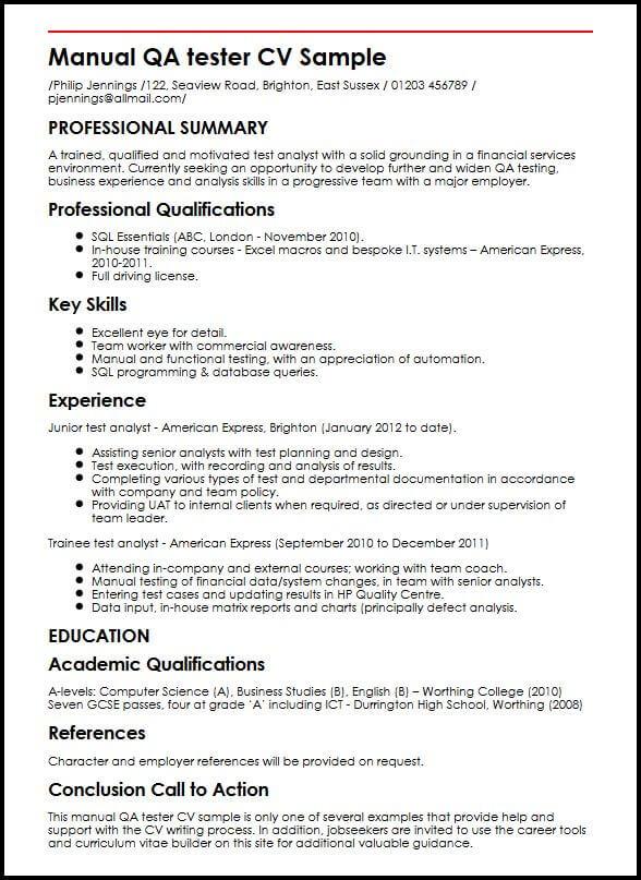 resume for qa manual tester