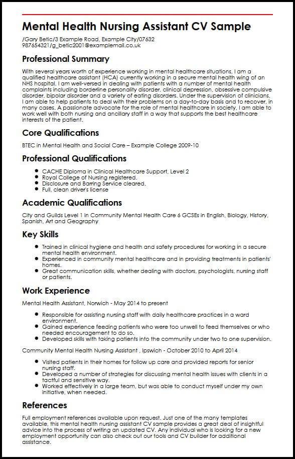 Mental Health Nursing Assistant CV Sample MyperfectCV