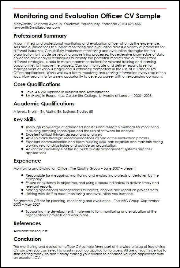 Monitoring And Evaluation Officer CV Sample MyperfectCV