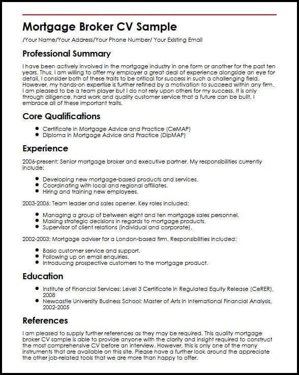 mortgage broker resume template