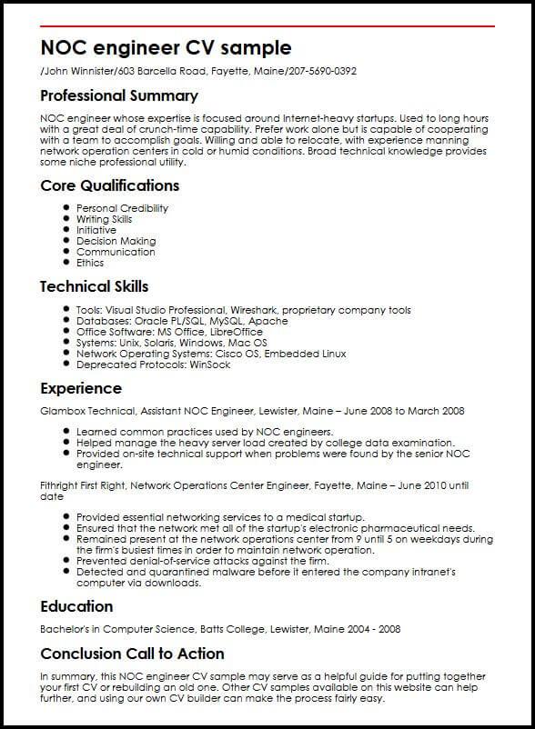 sample resume for noc technician