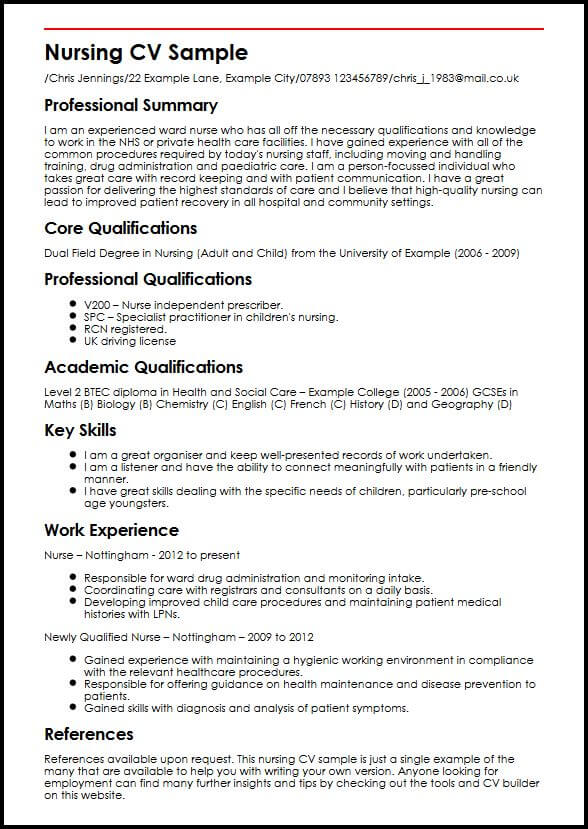 Nursing CV Sample MyperfectCV