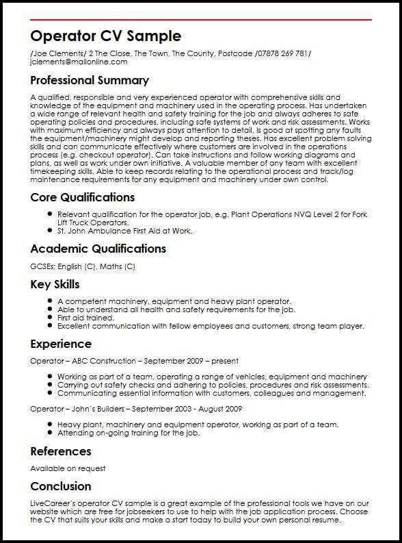 Operator CV Sample MyperfectCV