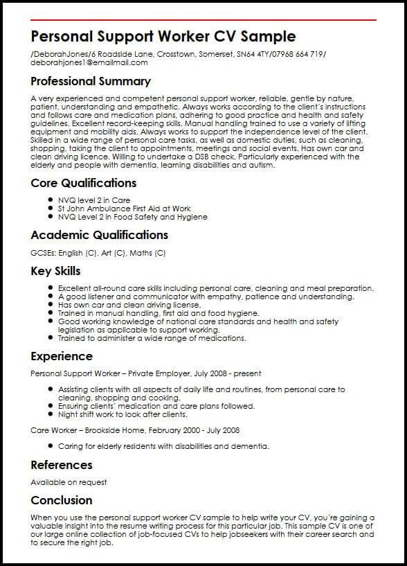 Personal Support Worker CV Sample MyperfectCV