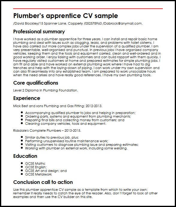 Plumber apprentice CV sample  MyperfectCV