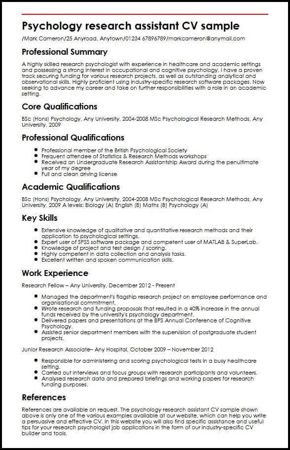 Psychology Resume Template