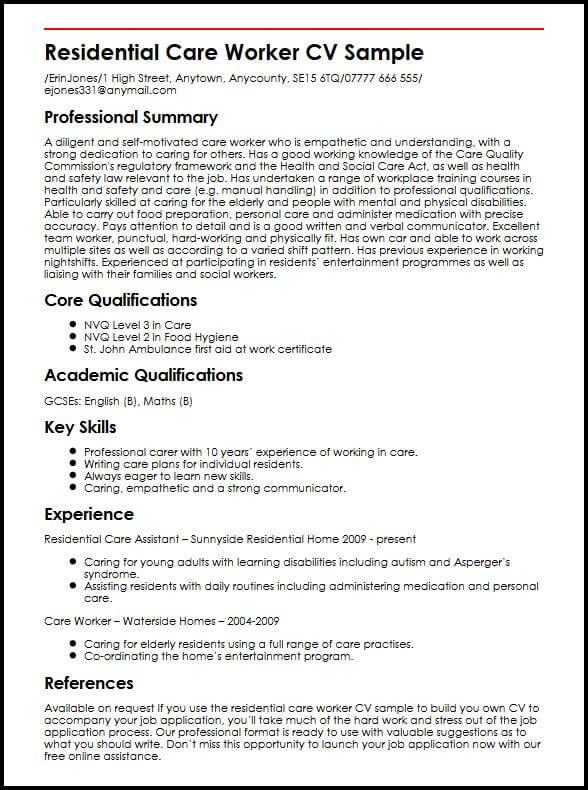 Residential Care Worker CV Sample MyperfectCV