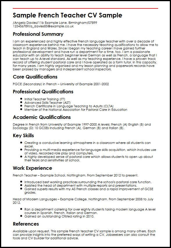 resume for german language teacher