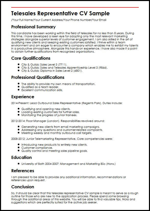example of knowledge cv