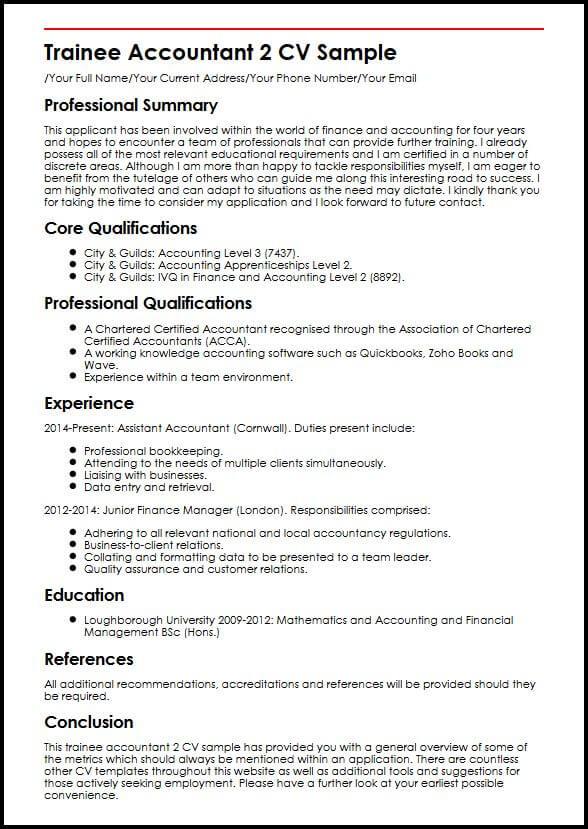 Trainee Accountant 2 CV Sample  MyperfectCV