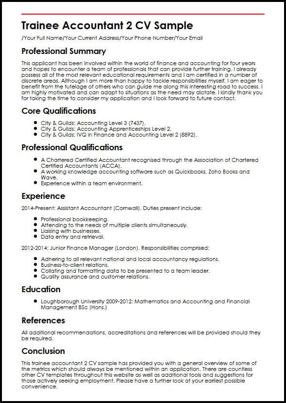 examples of post articles trainee accountant resume