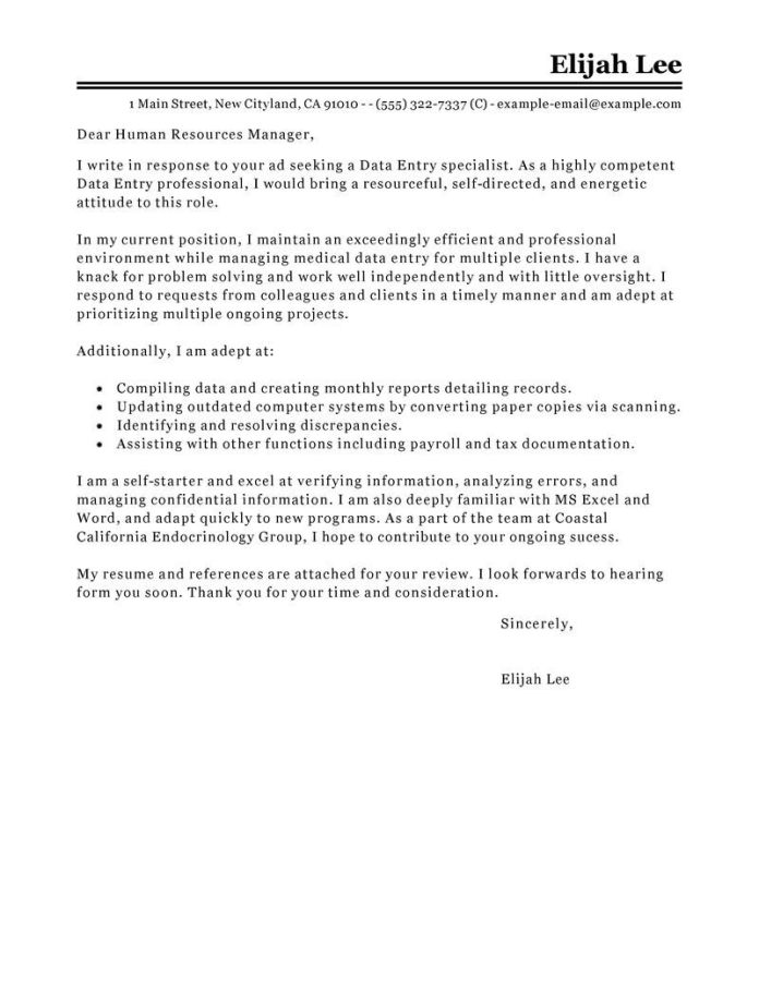 Data Entry Cover Letter Examples Myperfectresume