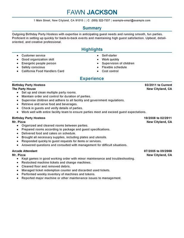 party hostess resume sample
