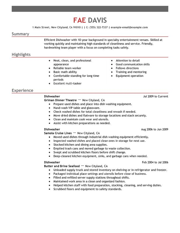 Unforgettable Dishwasher Resume Examples To Stand Out