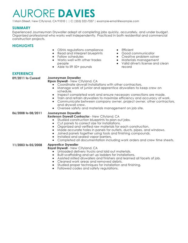 Journeymen Drywallers Resume Examples  Free to Try Today  MyPerfectResume