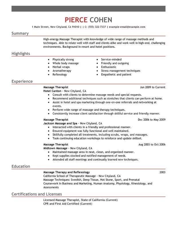 massage therapis resume samples