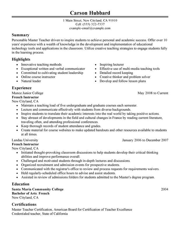 Unforgettable Master Teacher Resume Examples to Stand Out  MyPerfectResume