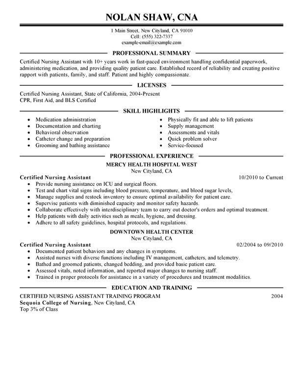 Nursing Aide and Assistant Resume Examples Created by Pros  MyPerfectResume