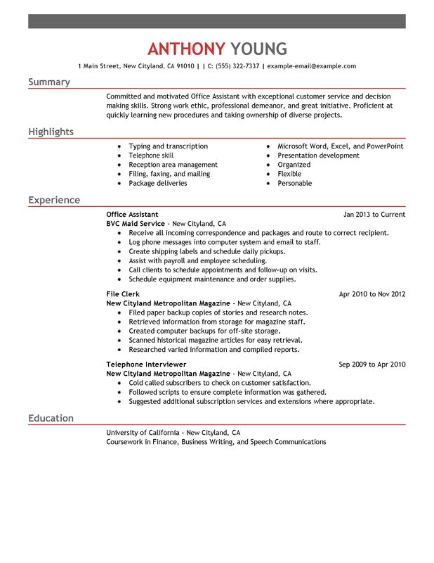 Office Assistant Resume Examples  Free to Try Today