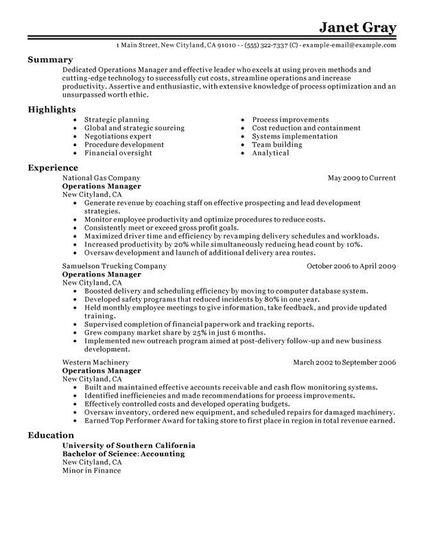 Unforgettable Operations Manager Resume Examples to Stand