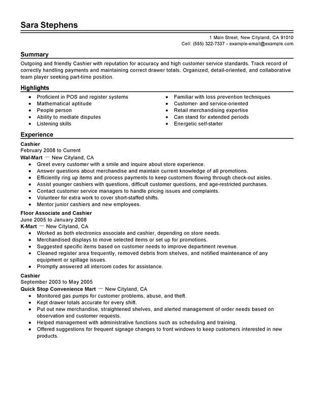 unforgettable part time cashiers skills summary resume examples great customer service