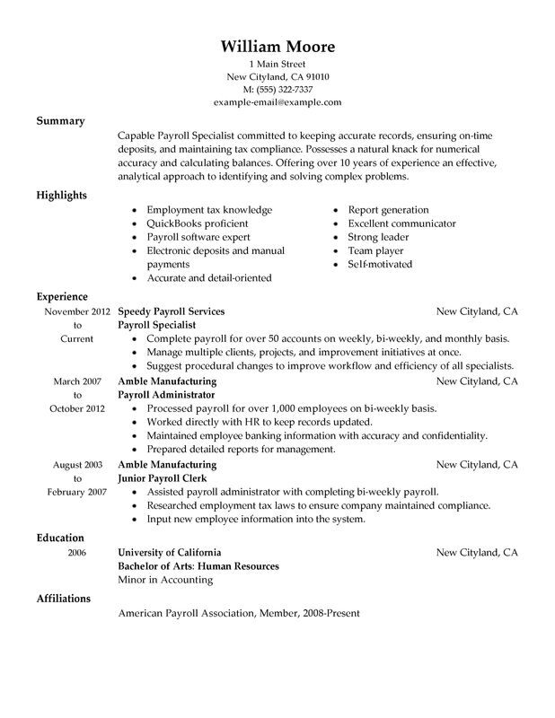 summary of qualifications resume for clerical