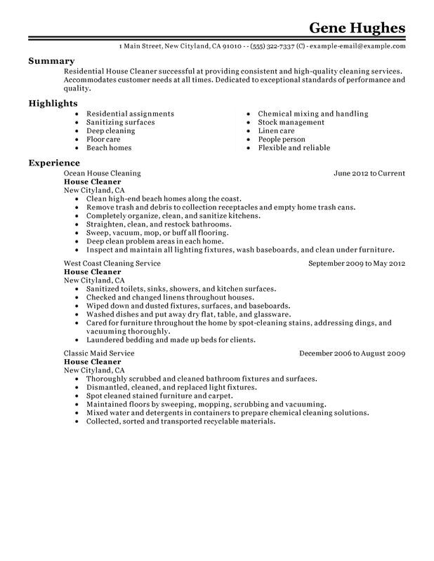 Residential House Cleaner Resume Examples  Free to Try