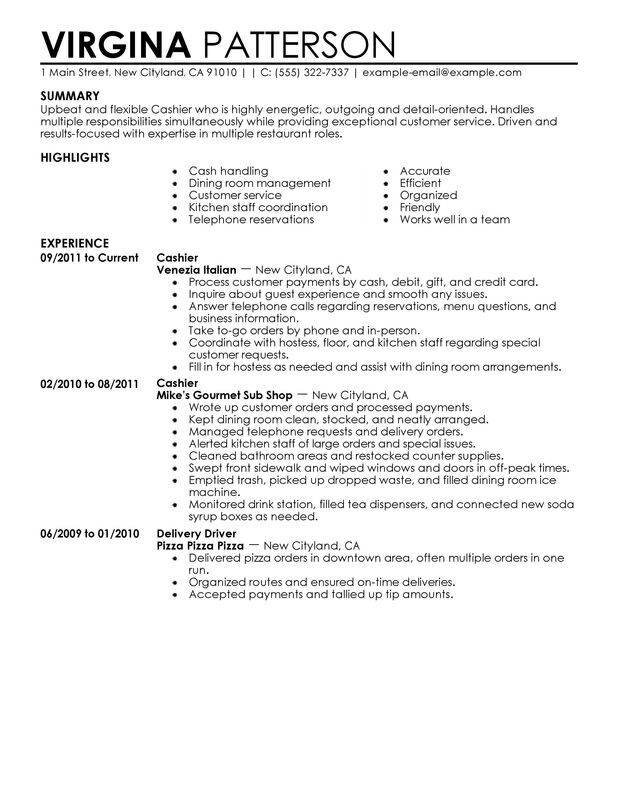 food cashier resume objective examples
