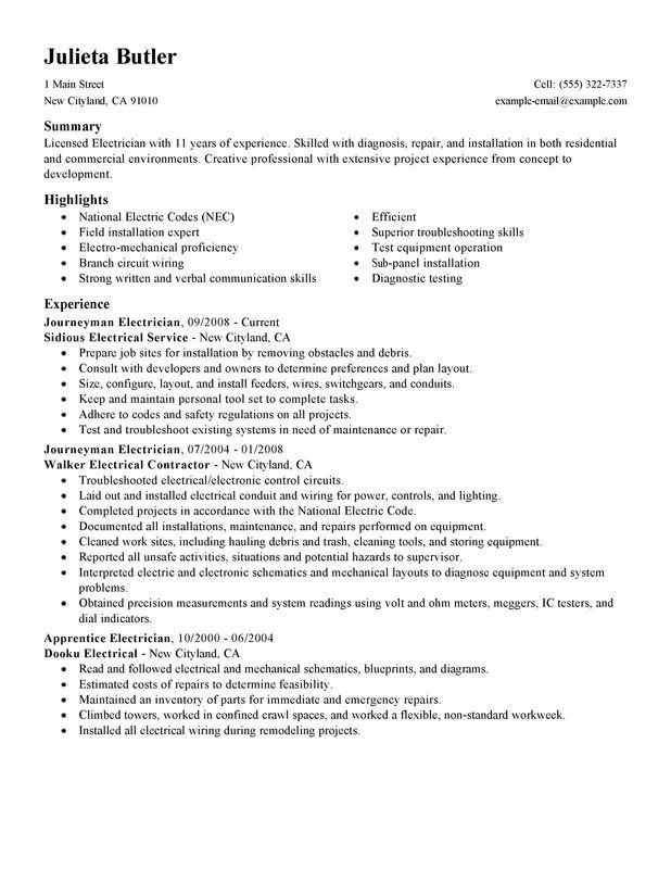 sample resume for electrician work