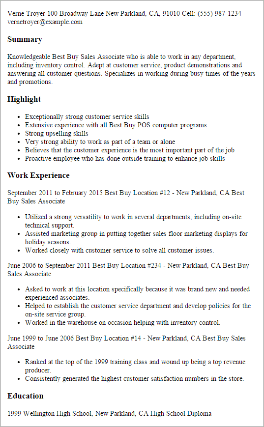 resume examples for best buy