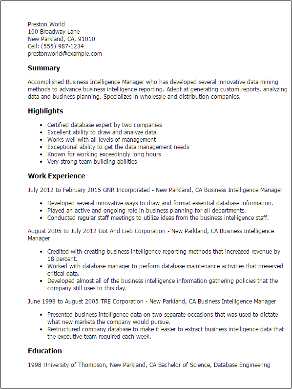 What things do people put in the skills section of their resumes?. Business Intelligence Manager Resume Template Mpr