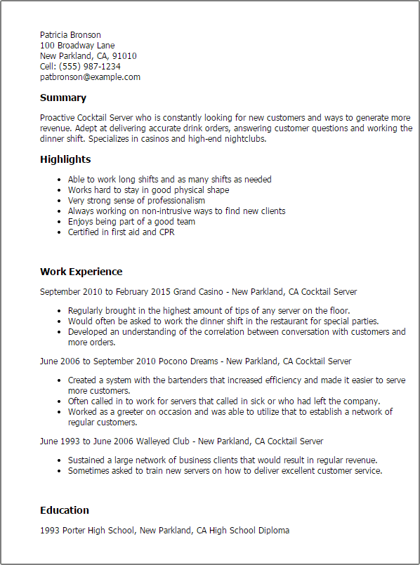 resume for cocktail server example