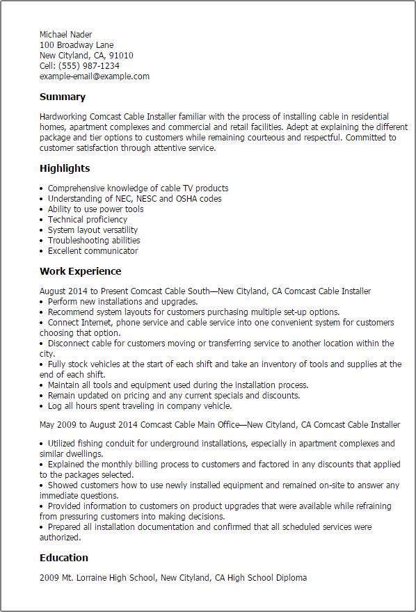 cable tv technician resume sample