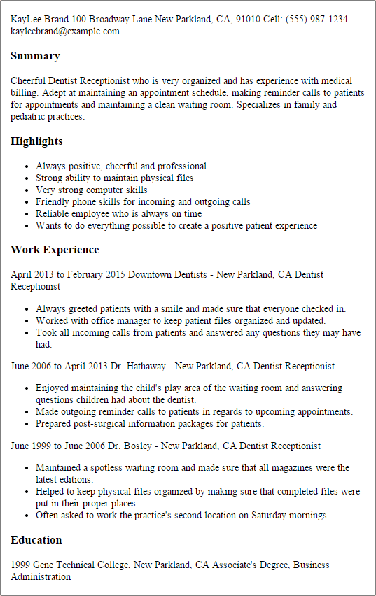 dentist assistant resume