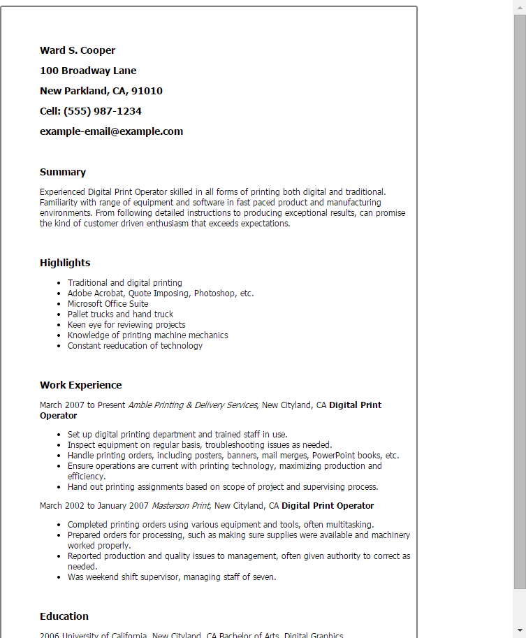 printing machine catcher resume templates