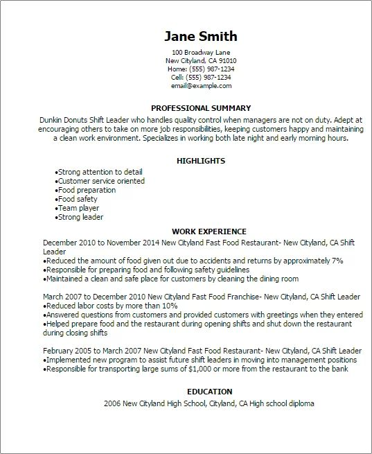 dunkin donuts manager resume sample