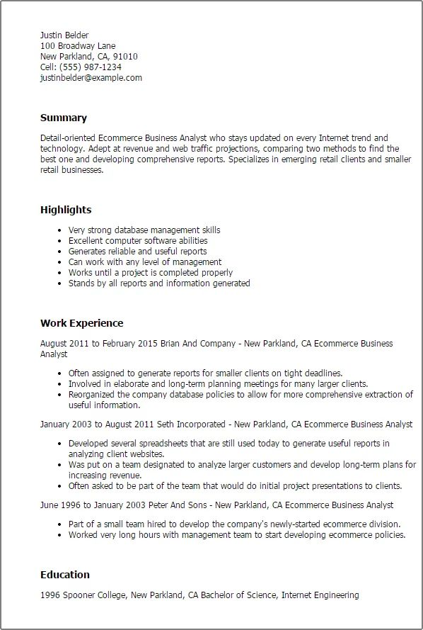 best business analyst resumes