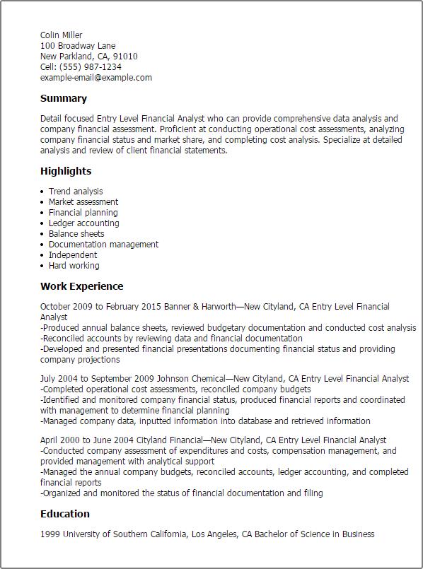 Financial analyst resume template   premium resume samples & example. Entry Level Financial Analyst Resume Template Mpr