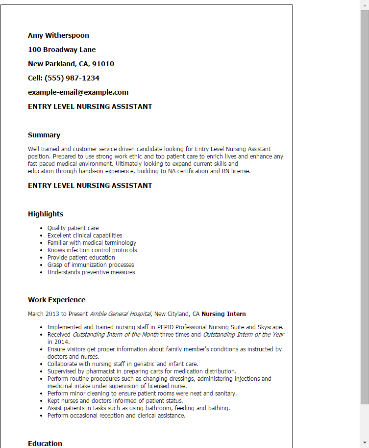 resume summary example entry level office