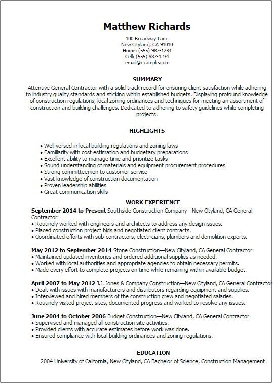 general contractor resume examples