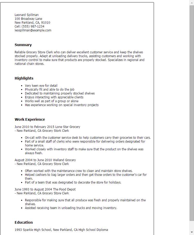a good summery example on a resume