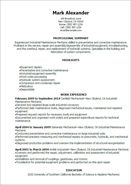 resume templates for a mechanic