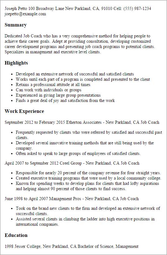 job coach resume example
